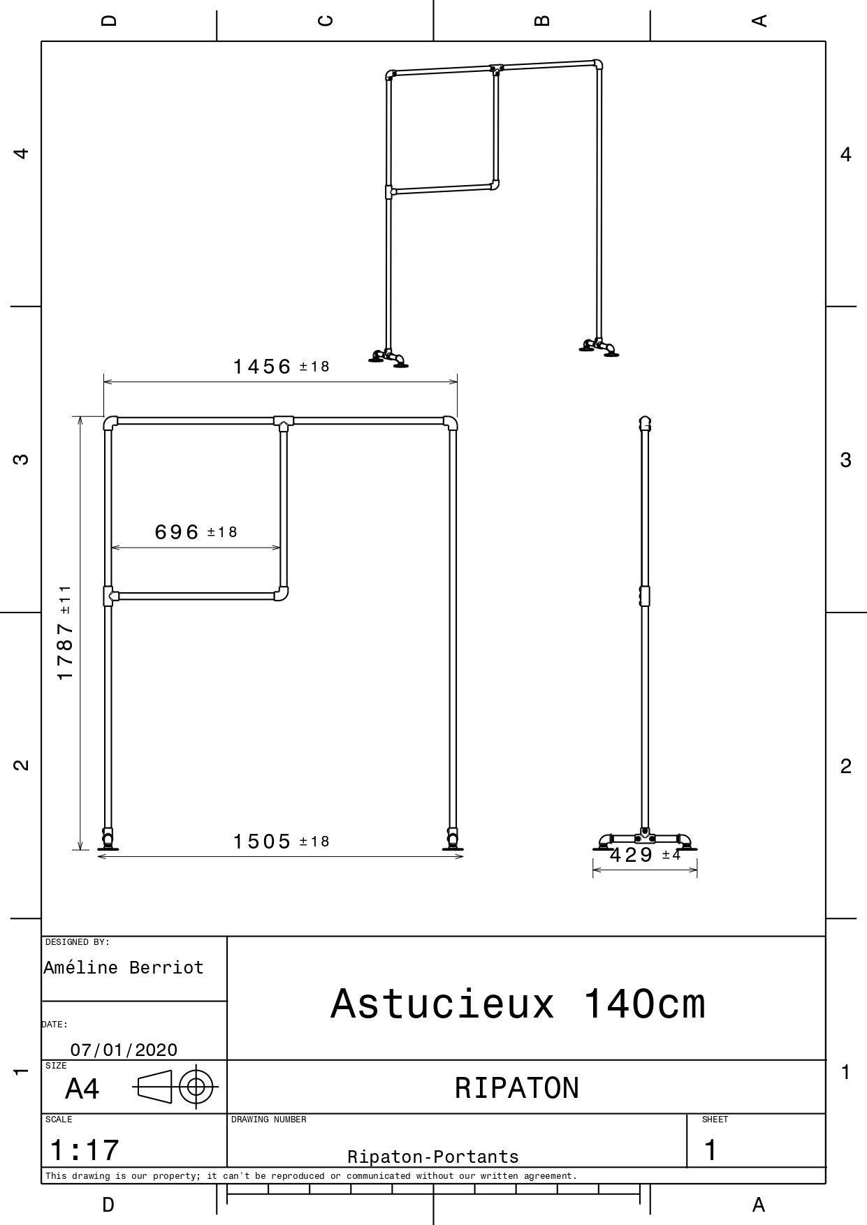 Plan technique pour l'astucieux en 146 cm