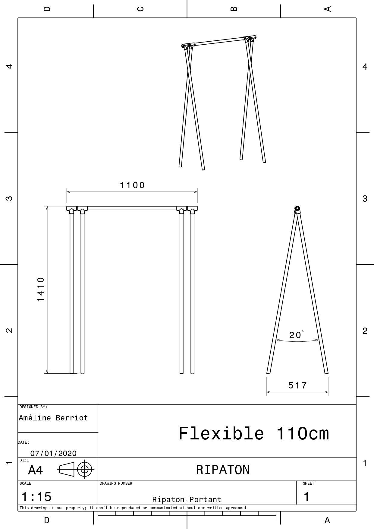 Plan technique pour portant 110 cm