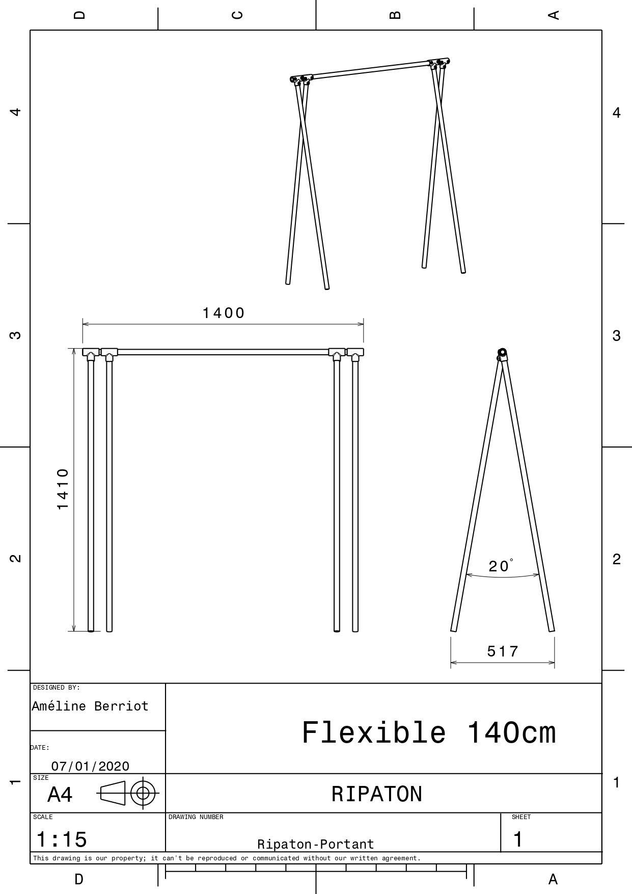 Plan technique pour portant 140 cm
